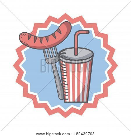 seal stamp with sausage and fork and drink icon over white background. usa indepence day concept. colorful design. vector illustration