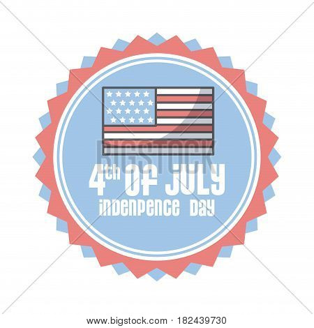 seal stamp with flag icon over white background. usa indepence day concept. colorful design. vector illustration
