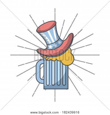 beer jar with top hat icon over white background. colorful design. usa independence day concept. vector illustration