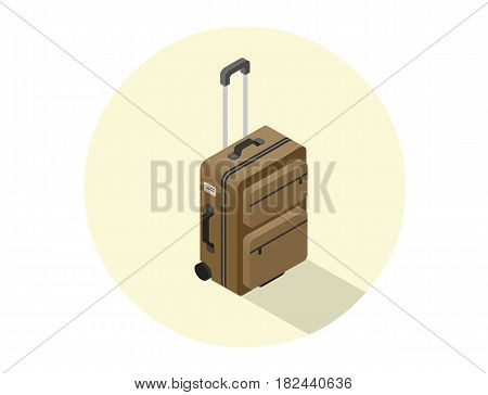 Vector isometric illustration of brown suitcase, travel baggage icon