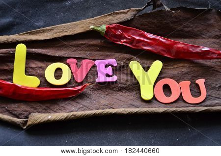 word love you on a  abstract  colorful background