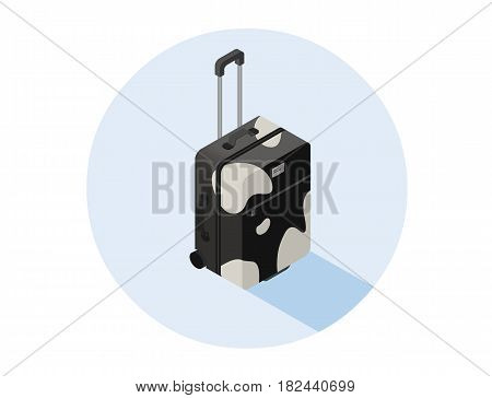 Vector isometric illustration of black and white suitcase, baggage icon