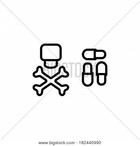 Dangerous pills vector icon. Eps 10. Poisoned Pills with toxin. Dangerous drug.