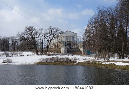 April evening and the Cameron gallery in Tsarskoye Selo