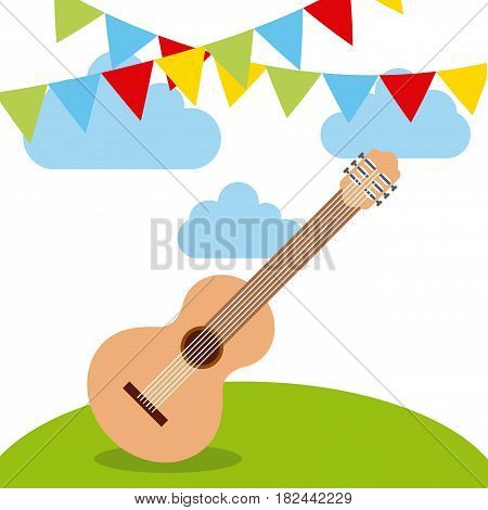 decorative pennants and guitar instrument icon over white background. colorful design. vector illustration