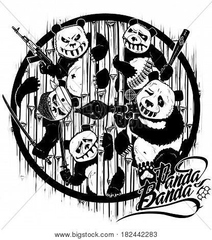 Drawing by hand. Revenge of pandas. Cartoon stylized characters. Computer graphics. Illustration