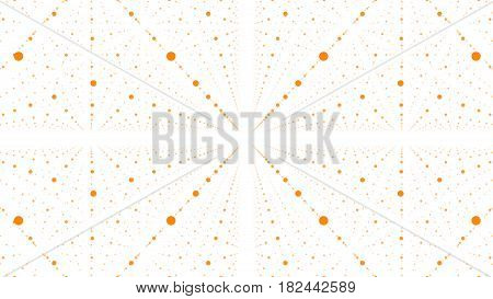 Abstract vector background. Matrix of orange dots with illusion of depth and perspective. Abstract futuristic space background