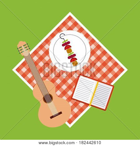 picnic tablecloth with guitar, food and a book over green background. colorful design. vector illustration