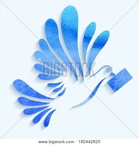 Vector watercolor dove with mail on light blue background. eps10