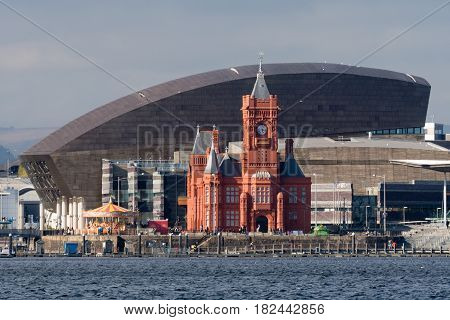 CARDIFF, UK - 12 APRIL 2017 Pierhead Building and Wales Millenium Centre in Cardiff. Grade I listed building of the National Assembly for Wales in Cardiff Bay Wales UK