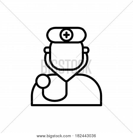 Doctor avatar vector icon on white background. Hospital, clinic linear logo. Outline doctors symbol for polyclinics - surgeon, orl, therapist, physician. Design element for site, hospital. Medical business logotype sign
