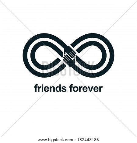 Friends Forever, Everlasting Friendship Conceptual Vector Symbol Isolated On White Background.