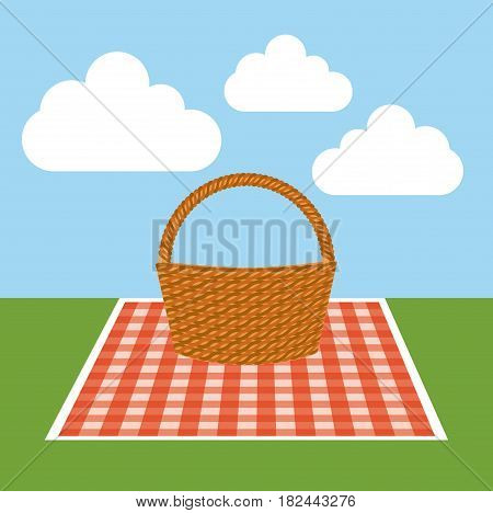 picnic tablecloth with basket icon over landscape background. colorful design. vector illustration