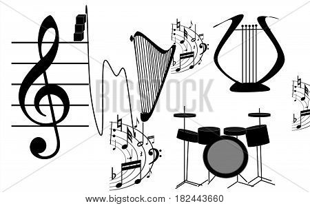 in a picture on a white background are represented fine musical instruments.