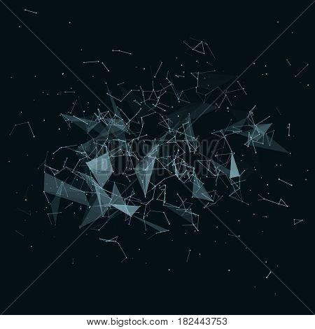 Abstract vector mesh background. Chaotically connected points and polygons flying in space. Futuristic technology style. Elegant background for business presentations. Flying debris. eps10