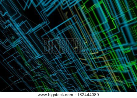 abstract ray traced image of circuit like coloured grid