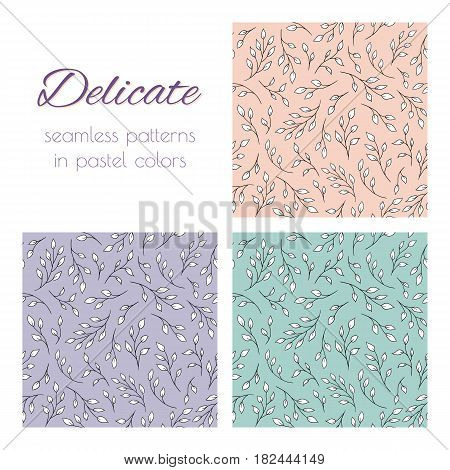 Set of seamless vector patterns with tree branches. Elegant natural ornaments in pastel hues. Already in swatches.