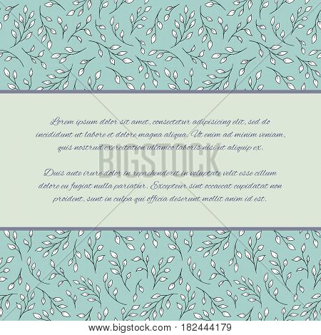Flyer; invitation; greeting card or promo design template. Seamless background with elegant tree branches. Pattern already in swatches.