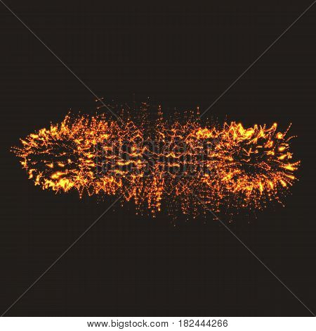 Abstract vector mesh background. Bio luminescence of colony. Shining particles connected with polygons. Futuristic style card. Elegant background for business presentations. Eps 10.