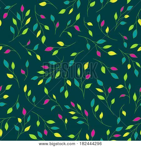 Seamless vector pattern with tree branches. Elegant natural ornament in vivid bold colours. Pattern is already in swatches.