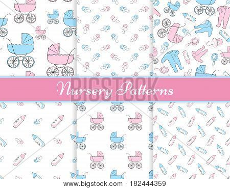 Set of six seamless vector patterns with items for newborn: baby carriages clothing rattle soothers and feeding bottles. All patterns are already in swatches.