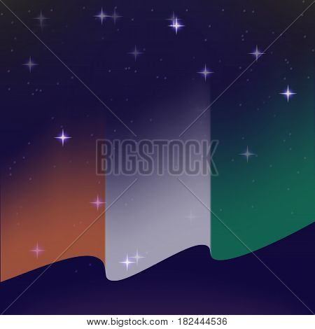 Waving flag of Cote d'Ivoire. Background of the night starry sky. Shining in the colors of the national flag. vector illustration