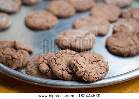 Brown Tasty Chocolate Cookies With Crackles Lay At Salver.