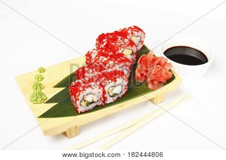 Roll with shrimp, cucumber, flying fish roe isolated on white background