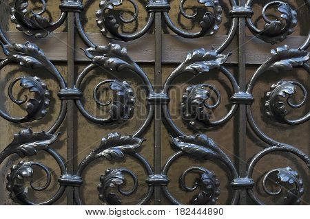 Old wooden door with wrought iron grating