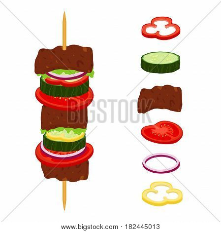 Kebabs on skewers, roasted meat - lamb, pork. Tomato, cucumber, pepper, onion, salad. Made in cartoon flat style.