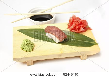 Sushi with tuna isolated on white background