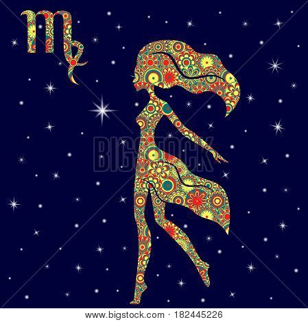 Zodiac Sign Virgo With Variegated Flowers Fill Over Starry Sky