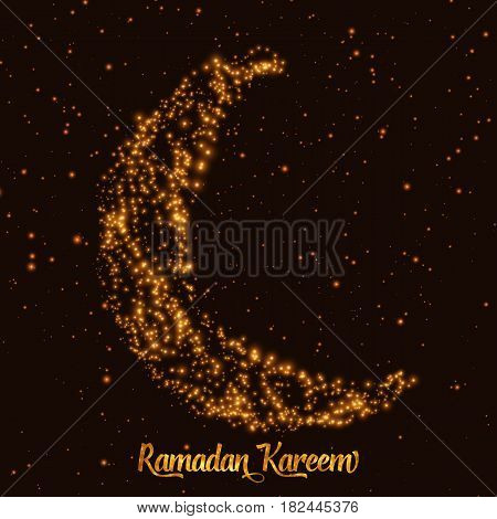 Crescent moon and star constructed of orange glowing particles on dark background. Ramadan Kareem. Shiny decorative moon.