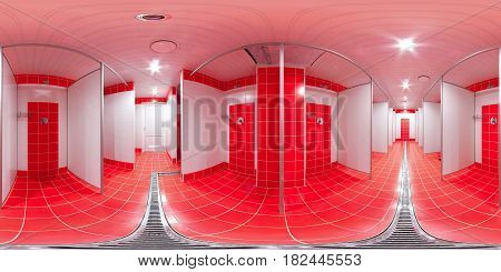 Panorama of 360 degrees inside the shower complex of the sports club with gutters and shower partitions.