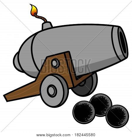 A vector illustration of a Cannon and cannon balls.