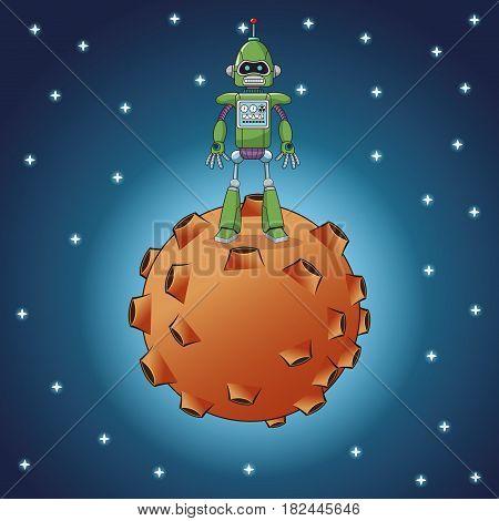 green robot technology moon galaxy vector illustration eps 10