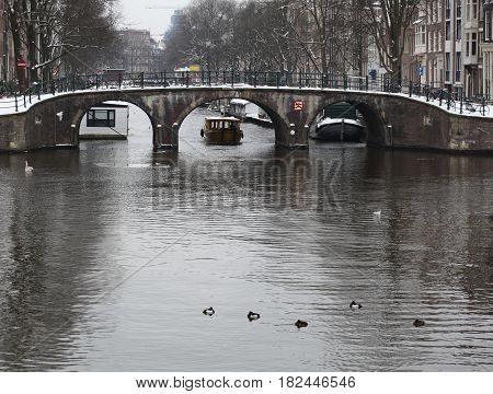 Water canal district in the city of Amsterdam, Netherlands