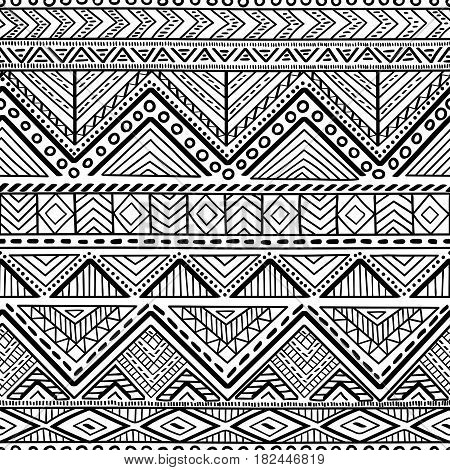 Seamless ethnic and tribal pattern. Handmade. Horizontal stripes. Black-and-white print for your textiles. Vector illustration.