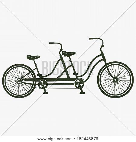 Retro tandem bicycle vector icon. Black icon on gray backround.