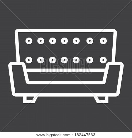 Sofa line icon, Furniture and interior element, couch vector graphics, a linear pattern on a black background, eps 10.