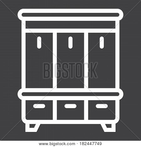 Hallway closet line icon, Furniture and interior element, halltree vector graphics, a linear pattern on a black background, eps 10.