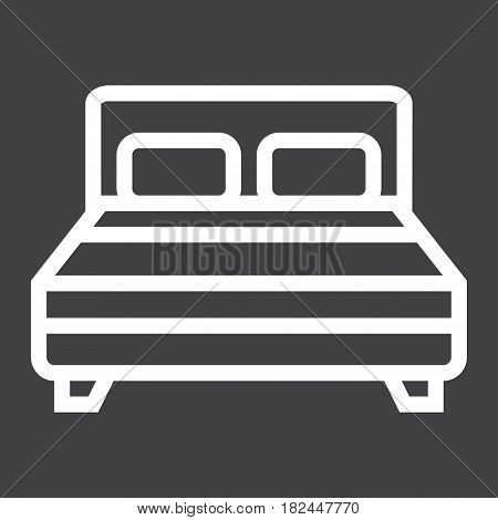 Double bed line icon, Furniture and interior element, vector graphics, a linear pattern on a black background, eps 10.