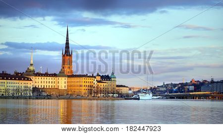 Stockholm city at dusk , Riddarholmen