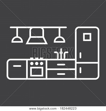 Kitchen furniture line icon, Furniture and interior element, vector graphics, a linear pattern on a black background, eps 10.