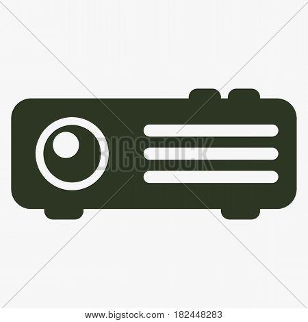Projector vector icon. Black icon on gray backround.