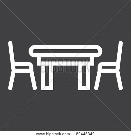 Dining table line icon, Furniture and interior element, vector graphics, a linear pattern on a black background, eps 10.