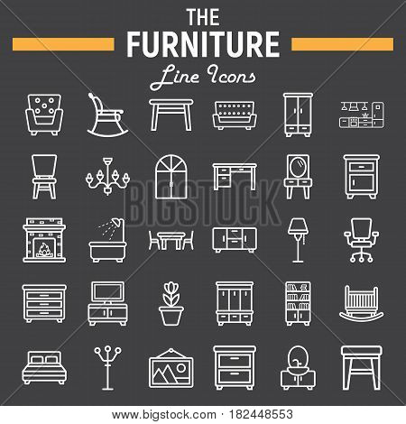 Furniture line icon set, interior symbols collection, vector sketches, logo illustrations, linear pictograms package isolated on black background, eps 10.