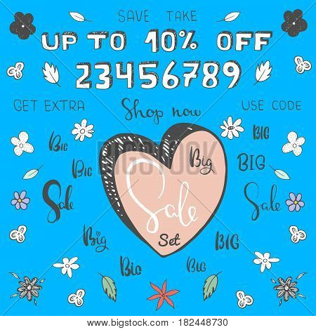 Cartoon Big Sale set. An easy way to make your own personal banner. Hand drawn vector set.