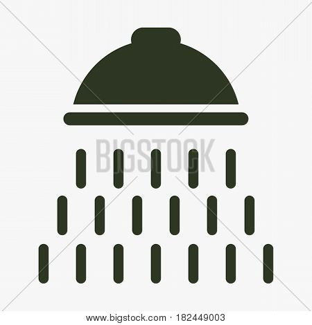 Shower vector icon with water drops symbol. Black icon on gray backround.