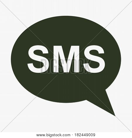 SMS cell phone text message icon. Black icon on gray backround.